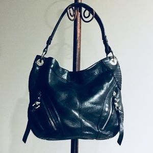 B Macowski black leather handbag